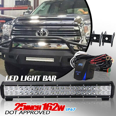 162W 25Inch LED Light Bar Led Flood Spot For Driving Lamp GMC Ford Offroad