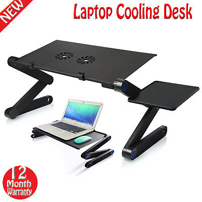 Adjustable Laptop Cooling Stand Pad Lazy Foldable Computer Desk + Mouse Tray Fan