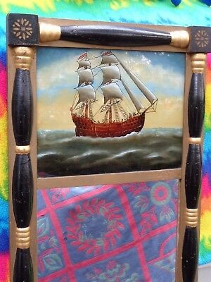 Antique Mirror Nautical Reverse Paint Ship Sea Sailor Glass Federal Style Small