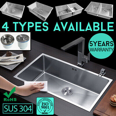 Handmade Single/Double Bowl Kitchen Sink Under/Topmount 304 Stainless Steel NEW