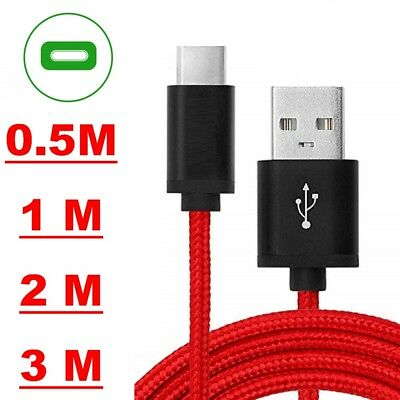 Heavy Duty Braided Fast Charge USB C Type C Data Phone Charger Cable Lead 2m 3m