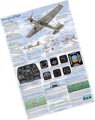 Laminated Principles of Flight Aviation Airplanes Chart Poster 24x36