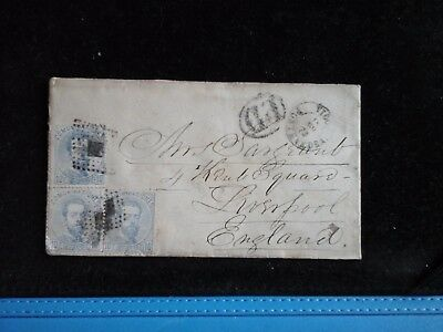 Envelope From Spain To Liverpool England 1873 Various Stamped Postal Marks