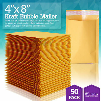 "50 #000 4x8 Kraft Paper Bubble Padded Envelopes Mailers Shipping Case 4""x8"""