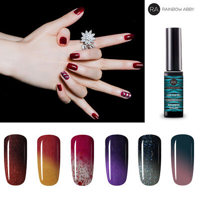Thermal Color-changing Gel Nail Polish Varnish UV Soak Off 6 Colors Set