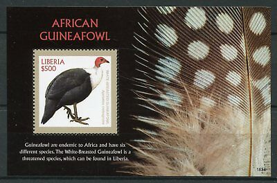 Liberia 2018 MNH African Guineafowl 1v S/S Fowl Birds Stamps