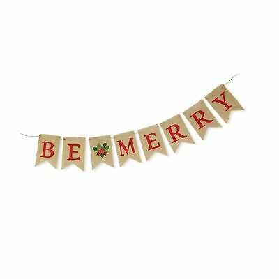 Be Merry Natural Burlap Bunting Christmas Holiday Banner Decoration - 1 piece...