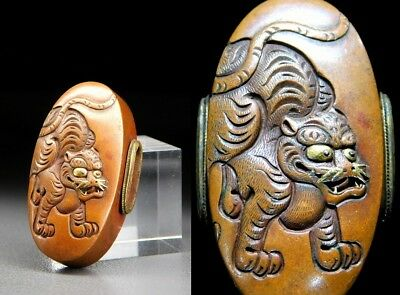 SUPERB Tiger KASHIRA MITO-School 18thC Japanese Edo Samurai Koshirae Antique