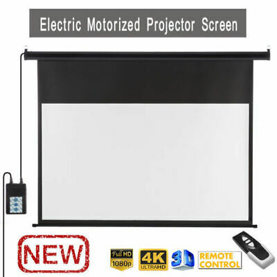 """100"""" Electric Motorised Projector Screen 16:9 Projection Home Cinema 3D HD UK!"""