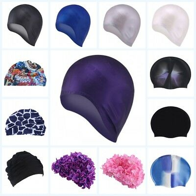 Women Ladies Swim Bathing Caps Floral Girls Adults Swimming Cap Hat Long Hair