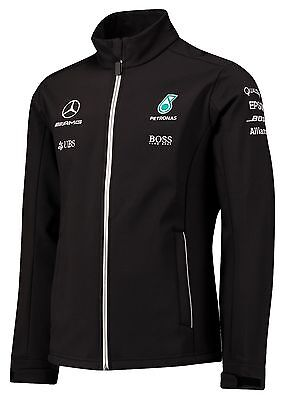 OFFICIAL F1 Mercedes AMG Petronas Team Soft Shell Jacket Coat BLACK – NEW