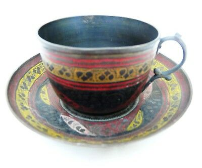 Vintage Cloisonne Cup and Saucer Duo