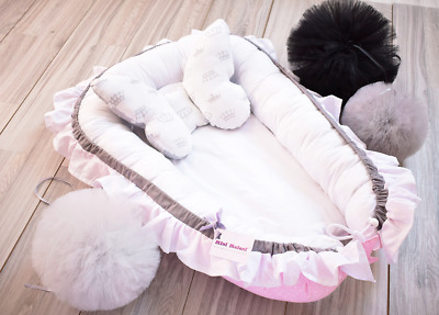 ELEGANT BABY NEST FOR NEWBORN SLEEP SNUGGLE COCOON CRIB BED with flounce
