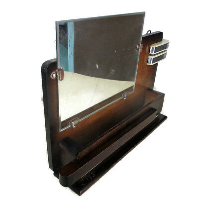 Small  Art Deco Wooden Comb Vanity Bathroom Cabinet Wall hanging  Beveled Glass