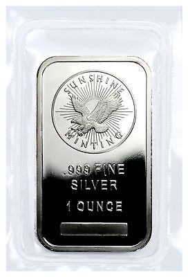 1 Troy oz Sunshine Mint .999 Fine Silver Bar  No Reserve