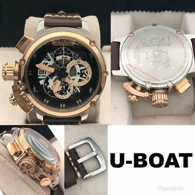 BEST OFFER !! U-BOAT ITALO FONTANA Chronograph Brown Leather Wrist Watch For Men