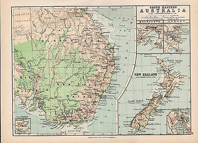 C1894 Antique Map Of South Eastern Australia