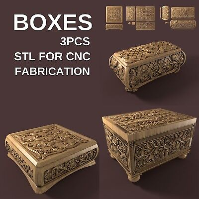 3d stl model cnc router artcam aspire 3 pcs box collection