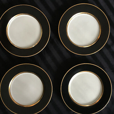 4 FITZ AND FLOYD CHINA RENAISSANCE BLACK ON White W/Goldl  DINNER PLATES PERFECT