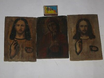 Antique 19c Orthodox Hand Painted Three Wood Icons Mother of God + 2 * Jesus.
