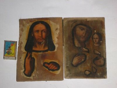 Antique 19c Orthodox Hand Painted Pair Wood Icons Mother of God + Jesus.