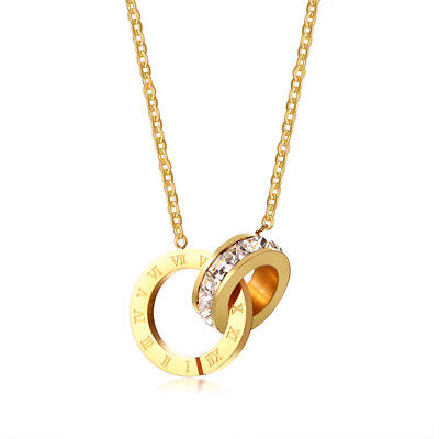 Silver/Gold/Rose Gold Roman Numerals Cz Loops Female's Stainless Steel Necklace