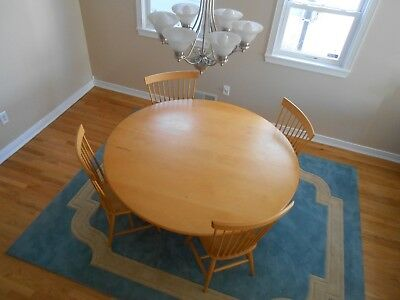 "Large Solid Wood Custom 65"" Round Dining table 4 matching chairs local pick up"