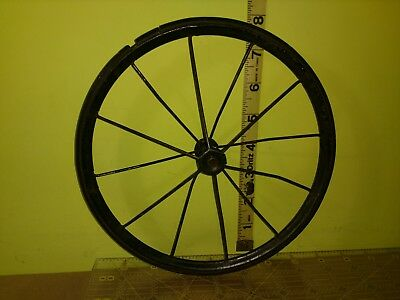 1 Vintage Metal Spoke Buggy Wagon Stroller Carriage Rubber Wheels Tires 8""