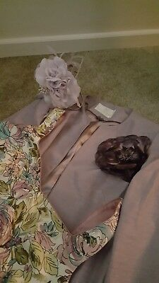 Jacques Vert Mauve long Jacket, Debut Floral Dress & matching Fascinator