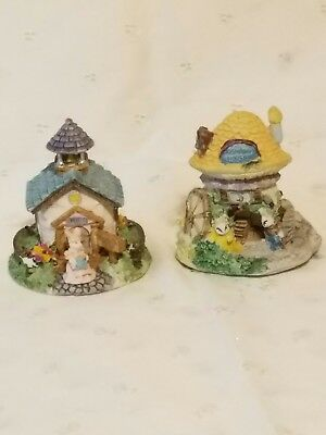 2 Different Easter Spring Resin Bunny Rabbit Village Houses Figurines