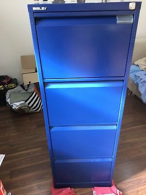 4 Drawer Bisley Steel Filing Cabinet / Blue