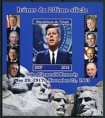 Chad 2018 MNH JFK John F Kennedy 1v IMPF M/S US Presidents Famous People Stamps