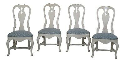 L29489E: Set Of 4 Country Queen Anne Paint Decorated Dining Chairs