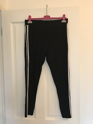 Topshop Maternity Thick Black Striped Leggings Trousers 14