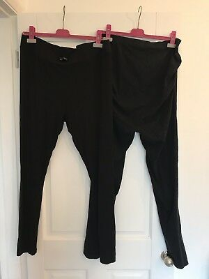 2 x Topshop George Maternity Leggings Black Size 14 Over Bump