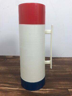 Aladdin Dura-Glad Vintage Red White & Blue Thermos Bottle Fast Ship