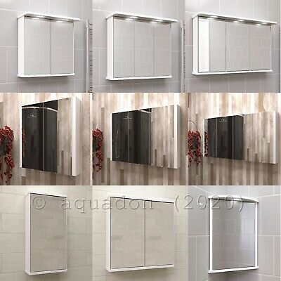 Bathroom Mirror Wall Cabinets Illuminated Shaver Socket All Sizes & Styles