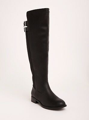 Torrid Over The Knee Double Buckle Strap Boots Wide Width N Calf Black Size 9W
