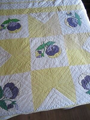 "Gorgeous Handmade Pansy Quilt Star Applique & Embroidery Quilt 68"" x 92"" Purple"
