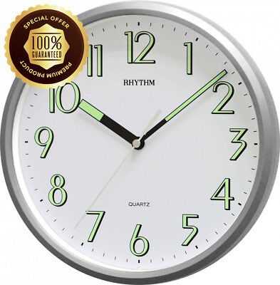 """Rythmn10"""" (25cm) Kitchen Wall Clock with Silver finish and Super Luminous hands"""