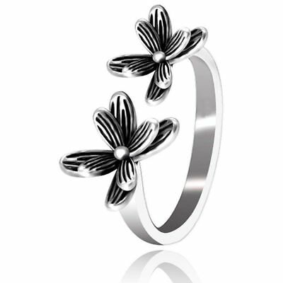 Women Rings Classic Vintage Fashion Flower Ring Bend Size Adjustable Open WeddH3