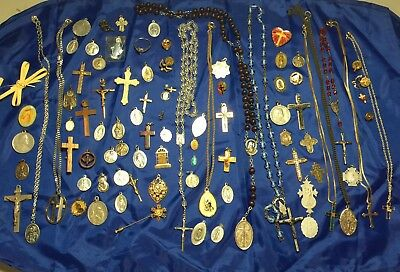 Vintage Catholic Religious Medals Rosaries Saints Cross Sterling Silver Italy
