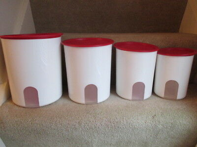 Tupperware One-Touch Canister (Set of 4) White with Red Seals Reminder Window