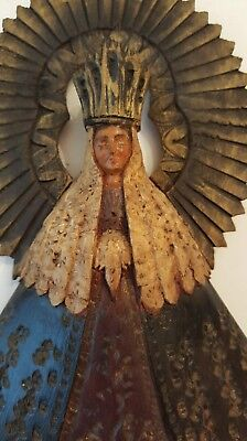 Vintage Hand Carved Santos Statue Our Lady of Solitude by D.Cortes  Mexico 1947