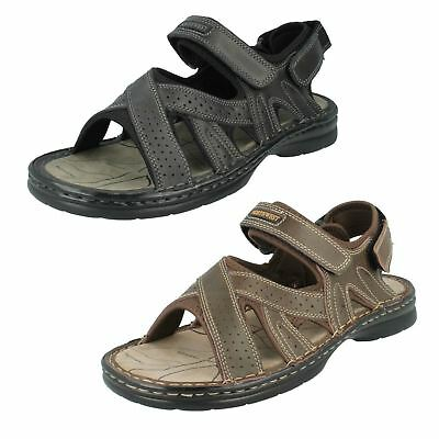 MENS MAVERICK NUBUCK LEATHER CASUAL CLOSED TOE RIPTAPE SUMMER SANDALS A1R100