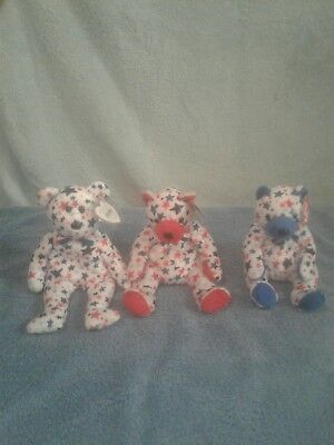 Red Blue and Red White   and blue bears  beanie babies Set of 3