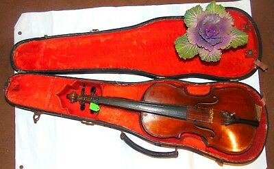 UNUSUAL Vintage Violin From Century BEFORE LAST Antique Old +bow and case (9130)