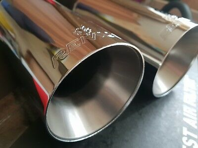 2x REMUS Stainless 90mm Exhaust Diesel Tail pipes Set Trim Muffler Tips RRP £200