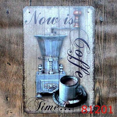 Now is Coffee Time Vintage Metal Tin Signs Plate Cafe Decor Art Wall Hanging