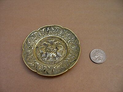 Antique/Vtg Solid Brass Incense/Ashtray Featuring A Double Eagle Crown Symbol